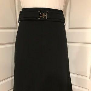 Club Monaco black knit belted pleated back skirt